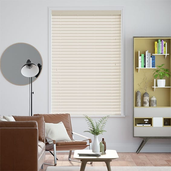 Gloss Creme - 50mm Lamellen Wooden Blind